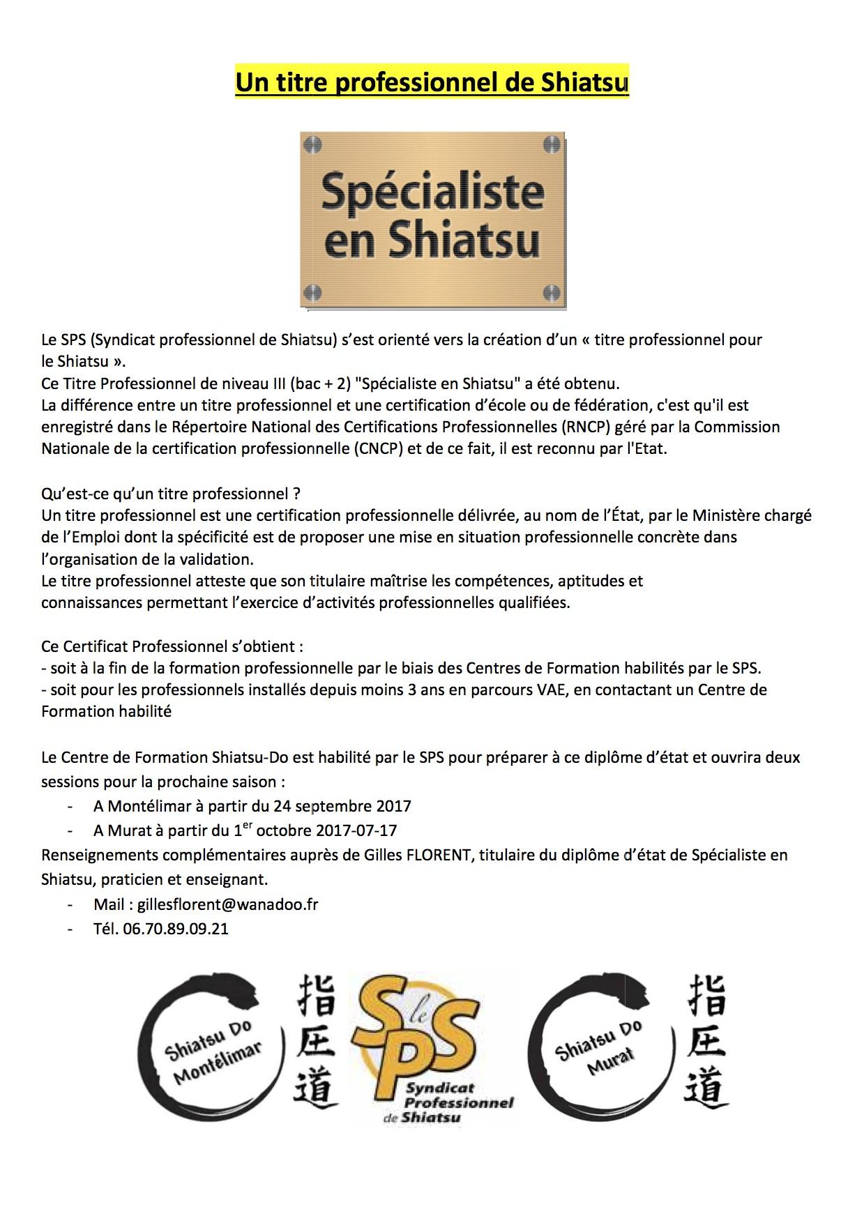 Diplome D Etat Pour La Formation Specialiste En Shiatsu Le